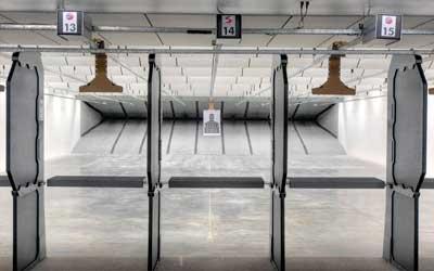 View of indoor pistol range